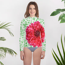 Load image into Gallery viewer, Youth Rash Guard- Pink Dahlia with Green Pattern Background