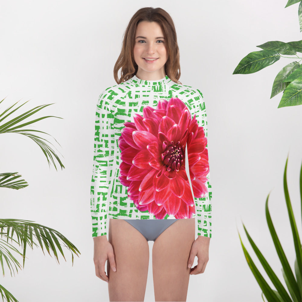 Youth Rash Guard- Pink Dahlia with Green Pattern Background