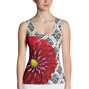 Sublimation Cut & Sew Tank Top- Beautiful Red Flower Tennis Top