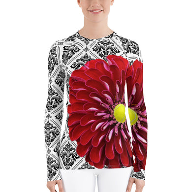 Women's Rash Guard- Red Flower Tennis Top