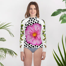 Load image into Gallery viewer, Youth Rash Guard - Pink Flower and Crazy Tree of Birds, Animals and Insects