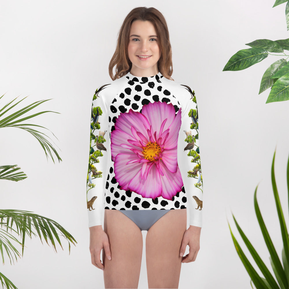 Youth Rash Guard - Pink Flower and Crazy Tree of Birds, Animals and Insects