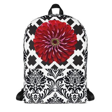 Backpack with fun black and white patterns and a beautiful red flower