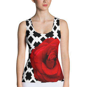 Red Rose Tank Top - Red Rose - Red Rose with Black and White Pattern Background