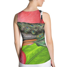 Load image into Gallery viewer, Colorful Peacock Tank Top with Pink Flowers and Tropical Green Leaves - Athletic Top - Tennis Top - Tennis Shirt