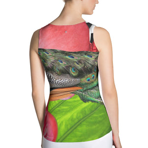 Colorful Peacock Tank Top with Pink Flowers and Tropical Green Leaves - Athletic Top - Tennis Top - Tennis Shirt