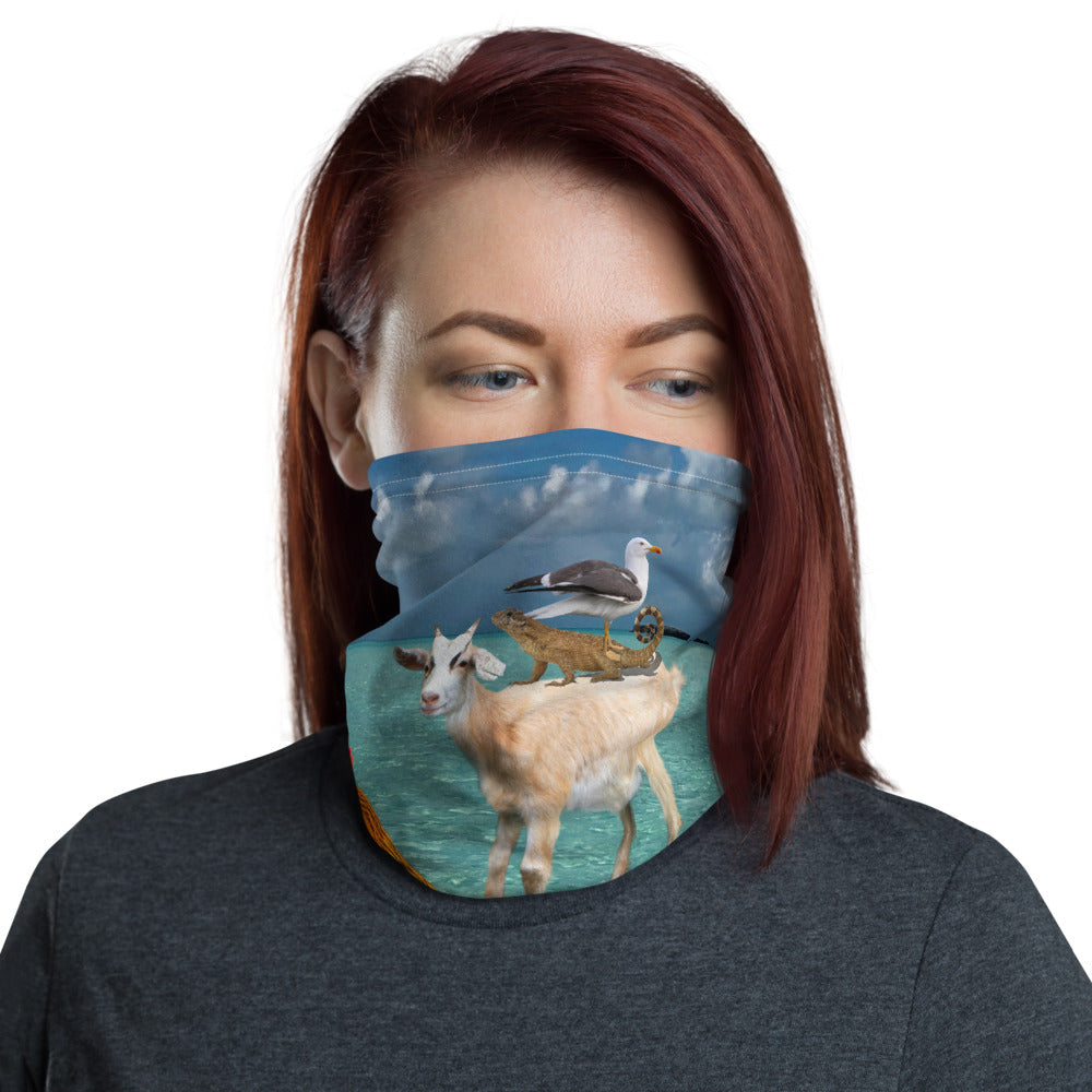 Neck Gaiter - Ahoy!! Chicken, Goat, Seagull, Curley Tail Lizard, Buddha, and Squirrel - Face Mask - Face Protector