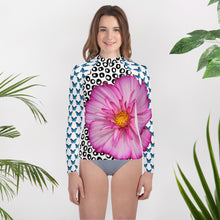 Load image into Gallery viewer, Youth Rash Guard- Butterflies and Flowers