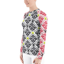 Load image into Gallery viewer, Women's Rash Guard- Red and Black No Flower for 40 Love