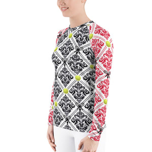 Women's Rash Guard- Red and Black No Flower for 40 Love