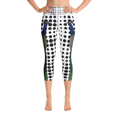 Yoga Capri Leggings - Peacock and Polka Dots