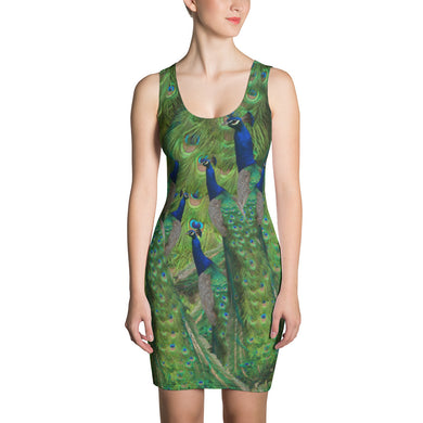 Fitted Peacock Print Dress