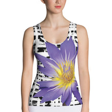 Load image into Gallery viewer, Purple Water Lily Tank Top - Water Lily Tank Top - Floral Tank Top