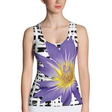 Purple Water Lily Tank Top - Water Lily Tank Top - Floral Tank Top