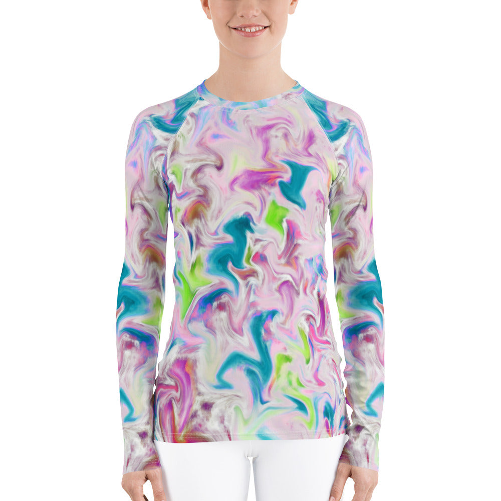 Women's Rash Guard - Pastel Abstract Design - Sun Shirt - Athletic Shirt