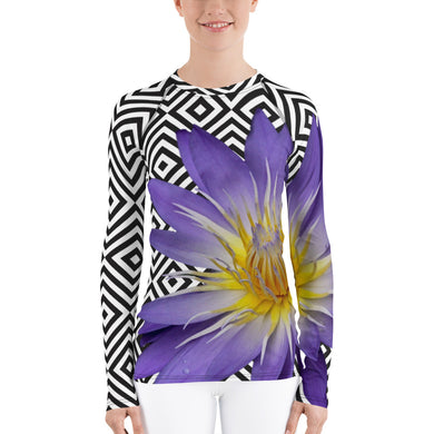 Women's Rash Guard - Purple Water Lily - Water Lily - Swim Shirt - UPF Shirt - Sun Shirt - Tennis Shirt