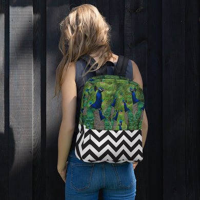 All-Over Print Backpack- Peacock Parade with Black and White Chevron Print