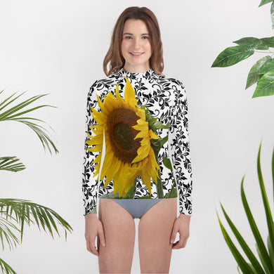 Youth Rash Guard- Bright and Fun Sunflower Swim Shirt