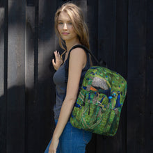 Load image into Gallery viewer, All-Over Print Backpack- Peacocks Galore!  Peacock Parade