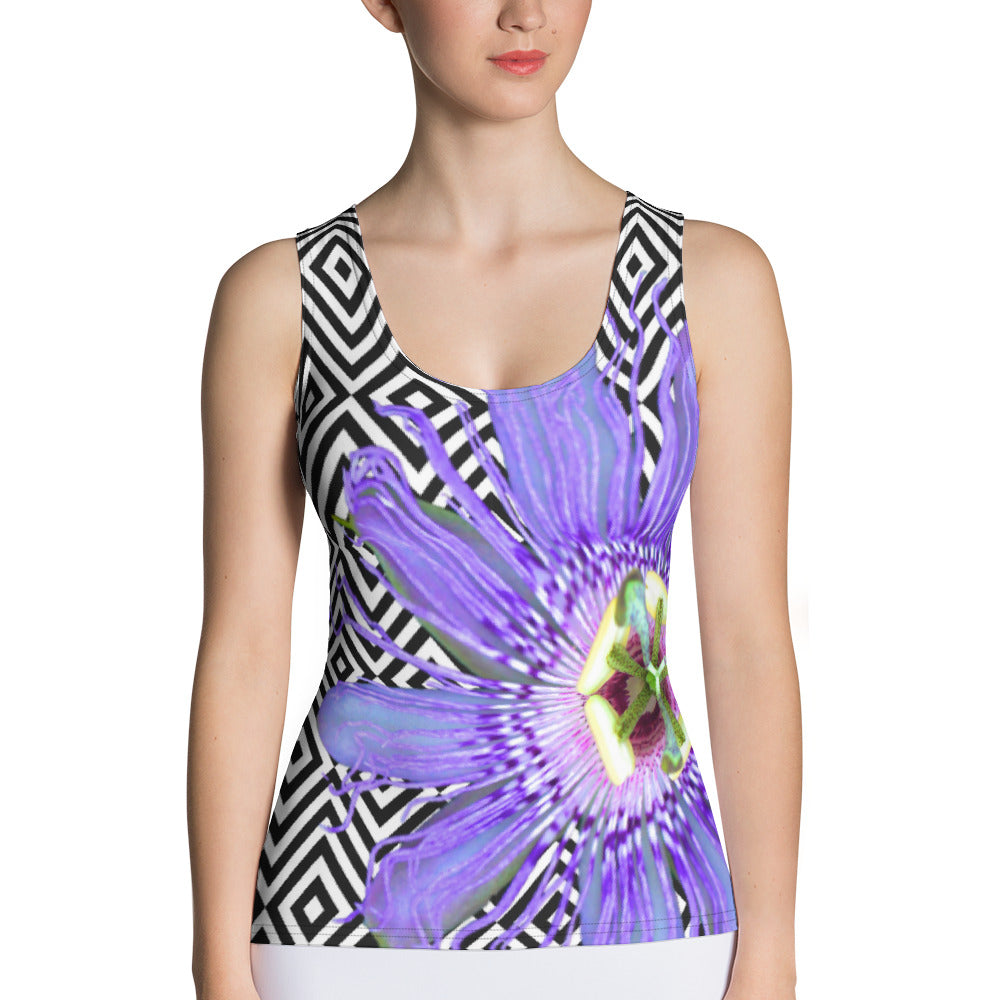Passion Flower Tank Top - Floral Tank Top - Purple Flower Tank Top