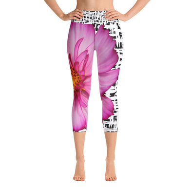 Yoga Capri Leggings - Pink Floral Leggings - Pink Flower