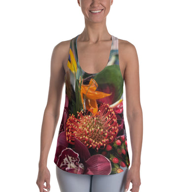 Women's Racerback Tank - Tropical Floral and Greenery