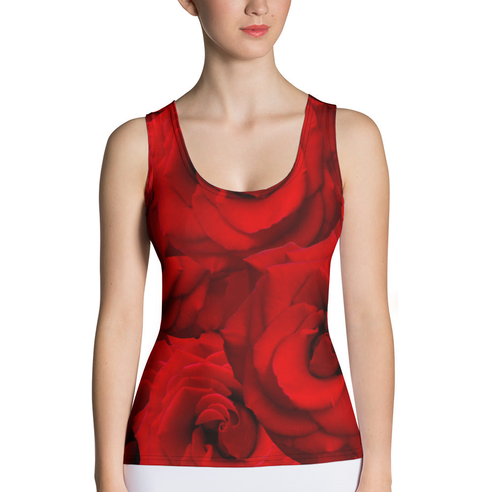 Sublimation Cut & Sew Tank Top - Roses - Valentine - Red Roses