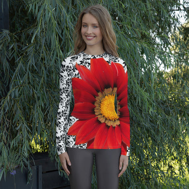 Women's Rash Guard- Colorful Red Flower- Perfect for the beach, playing tennis, or any other sport