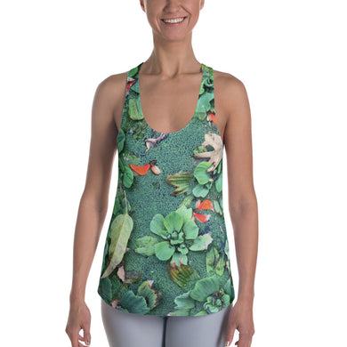 Women's Racerback Tank - Pond Scene on the Front and Black and White Leaf on the Back