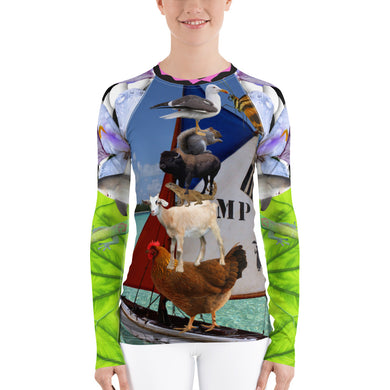 Women's Rash Guard - Ahoy!!! Chicken, Goat, Lizard, Squirrel, Sailboat, Paddle Board, SUP, Shark, Buffalo, Bison