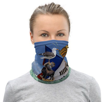 Neck Gaiter - A great day for sailing! Goat, Chicken, Squirrel, Sailboat, lizard, butterfly, seagull, bison, buffalo