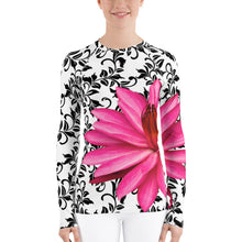 Load image into Gallery viewer, Women's Rash Guard - Water Lily - Pink Floral Shirt - UPF Shirt