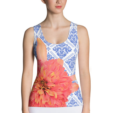 Floral Tank Top - Bold Orange and Delicate Blue - Orange and Blue Tank Top