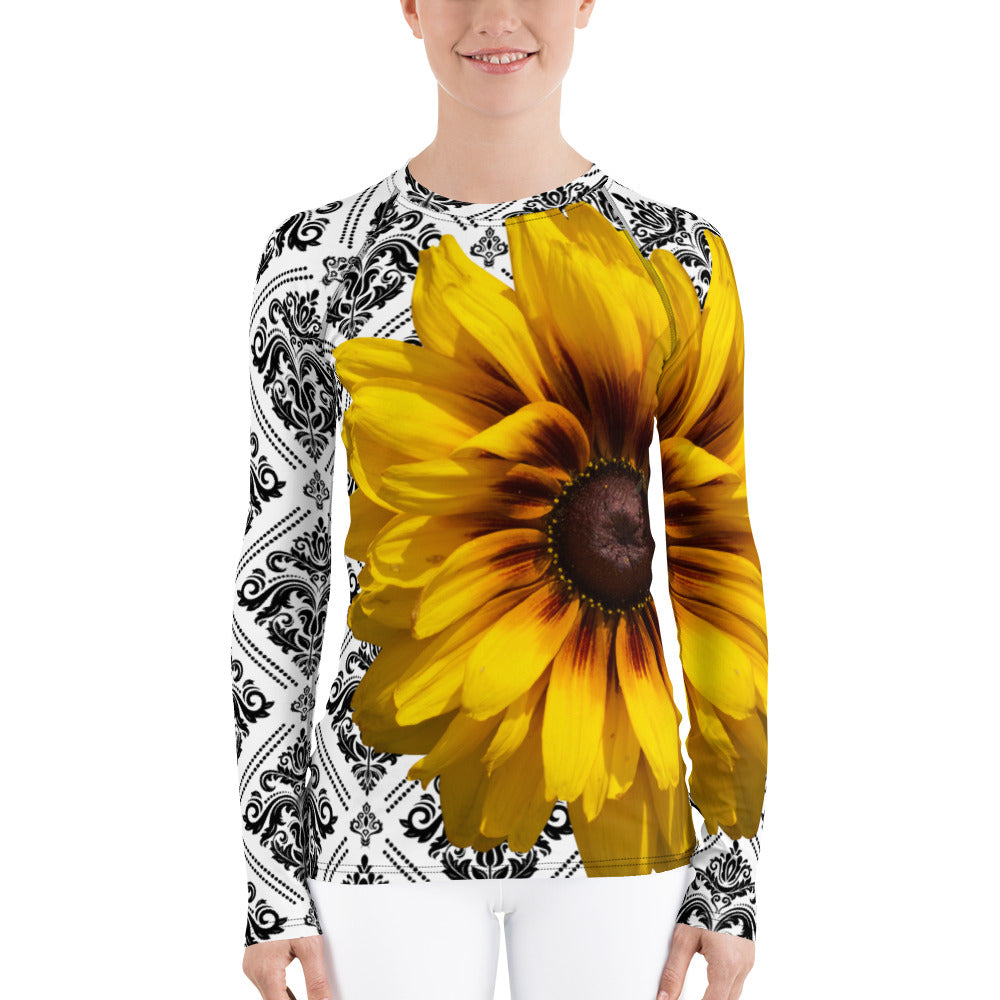 Rash guard - Swim Shirt - Sun Shirt - UPF Shirt - Sunflower Floral Shirt