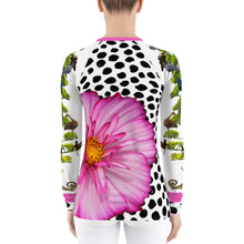 Load image into Gallery viewer, Women's Rash Guard - Fun, Whimsical Floral Designs with Lizards, Animals, and More!