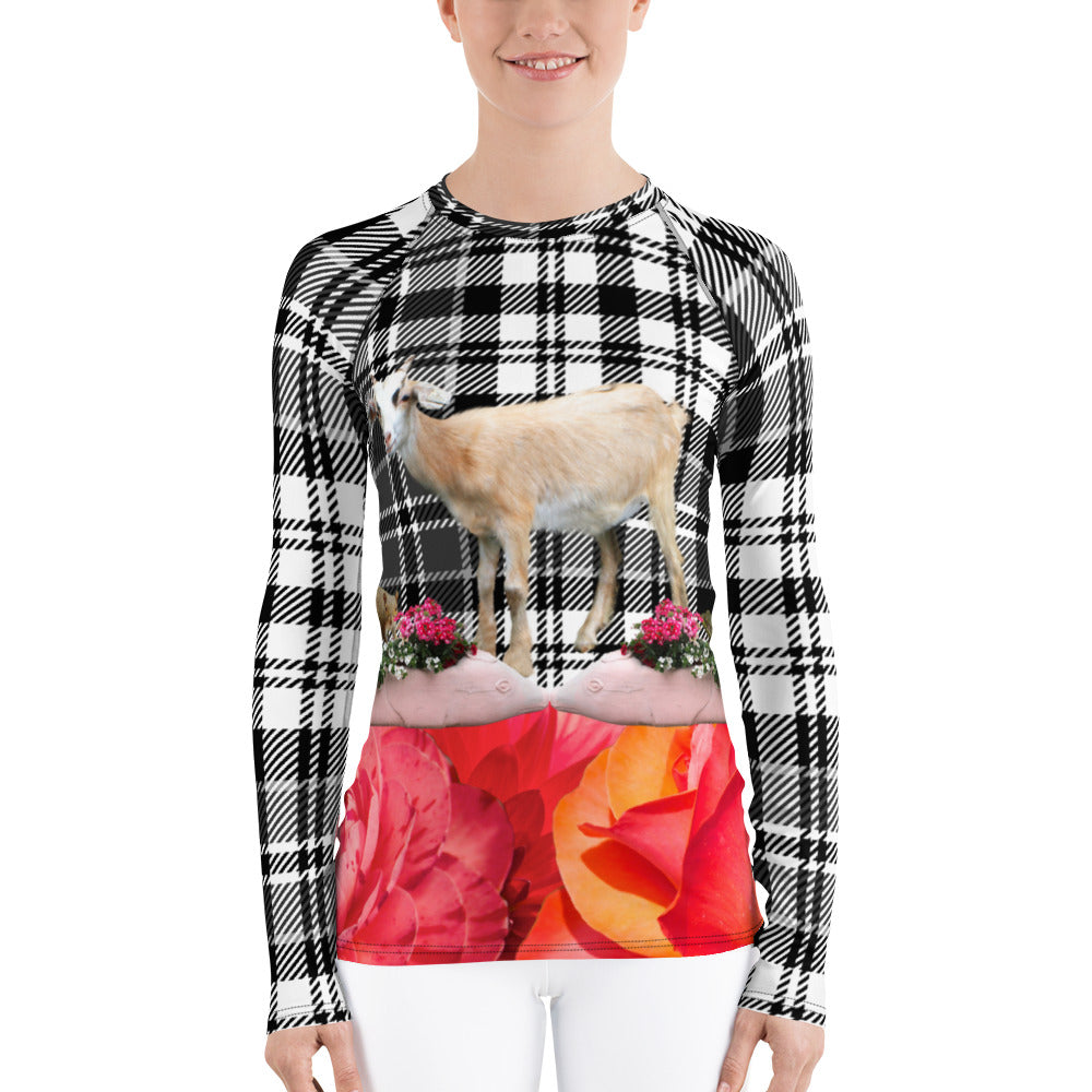 Women's Rash Guard - Goat, Pigs, Plaid and Flowers - UPF Shirt - Sun Shirt