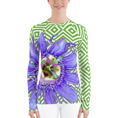 Women's Rash Guard - Tennis Shirt - Passion Flower - Running Shirt - UPF Shirt - Sun Shirt