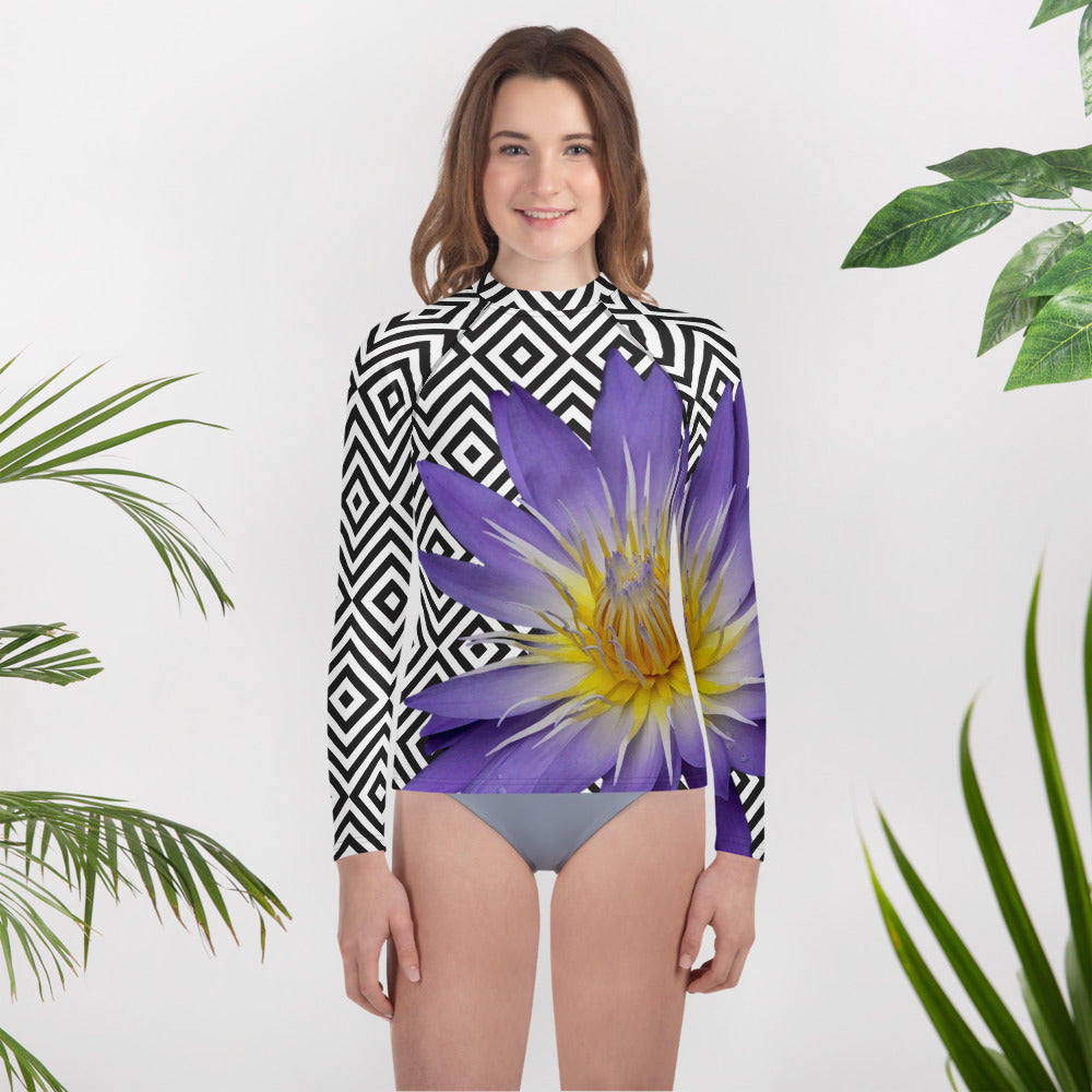 Youth Rash Guard- Purple Water Lily Swim Shirt