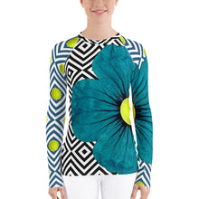 Load image into Gallery viewer, Neoturquoise - Turquoise Floral Shirt - Turquoise Floral UPF Shirt - Tennis Shirt