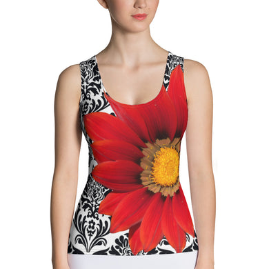 Red Flower Tank Top - Elegant Red Floral Tank Top
