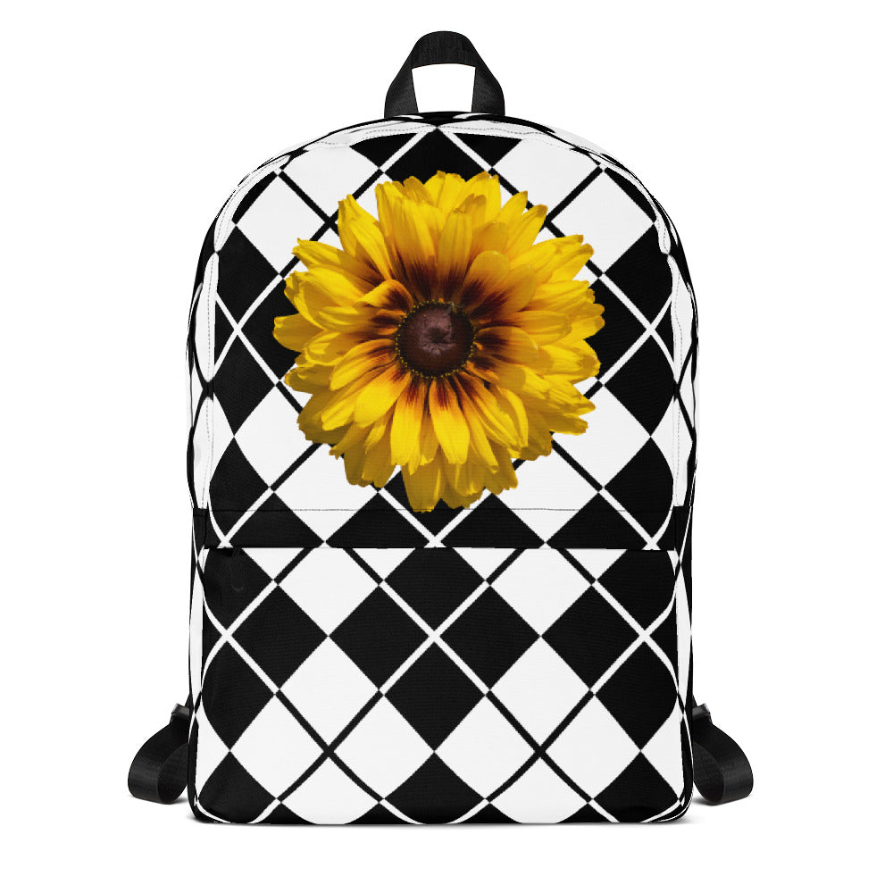 Backpack - Bold Black and White Plaid Print with Beautiful Sunflower