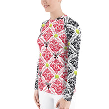 Load image into Gallery viewer, Women's Rash Guard- Red and Black for 40 Love