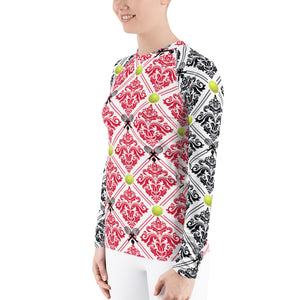 Women's Rash Guard- Red and Black for 40 Love