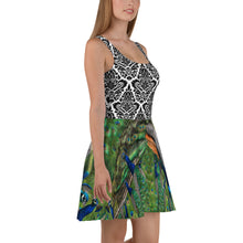 Load image into Gallery viewer, Skater Dress - Peacock and Elegant Black and White Design