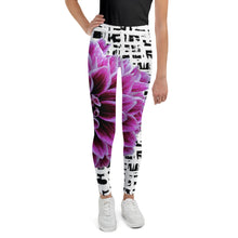 Load image into Gallery viewer, Youth Leggings - Purple Dahlia Leggings for Girls