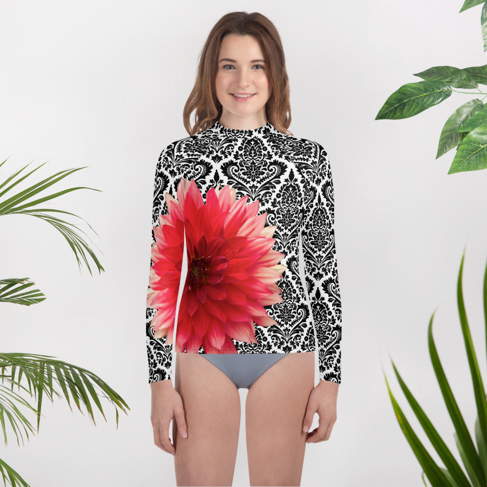 Youth Rash Guard - Pink Dahlia Flower with Black and White Pattern Background