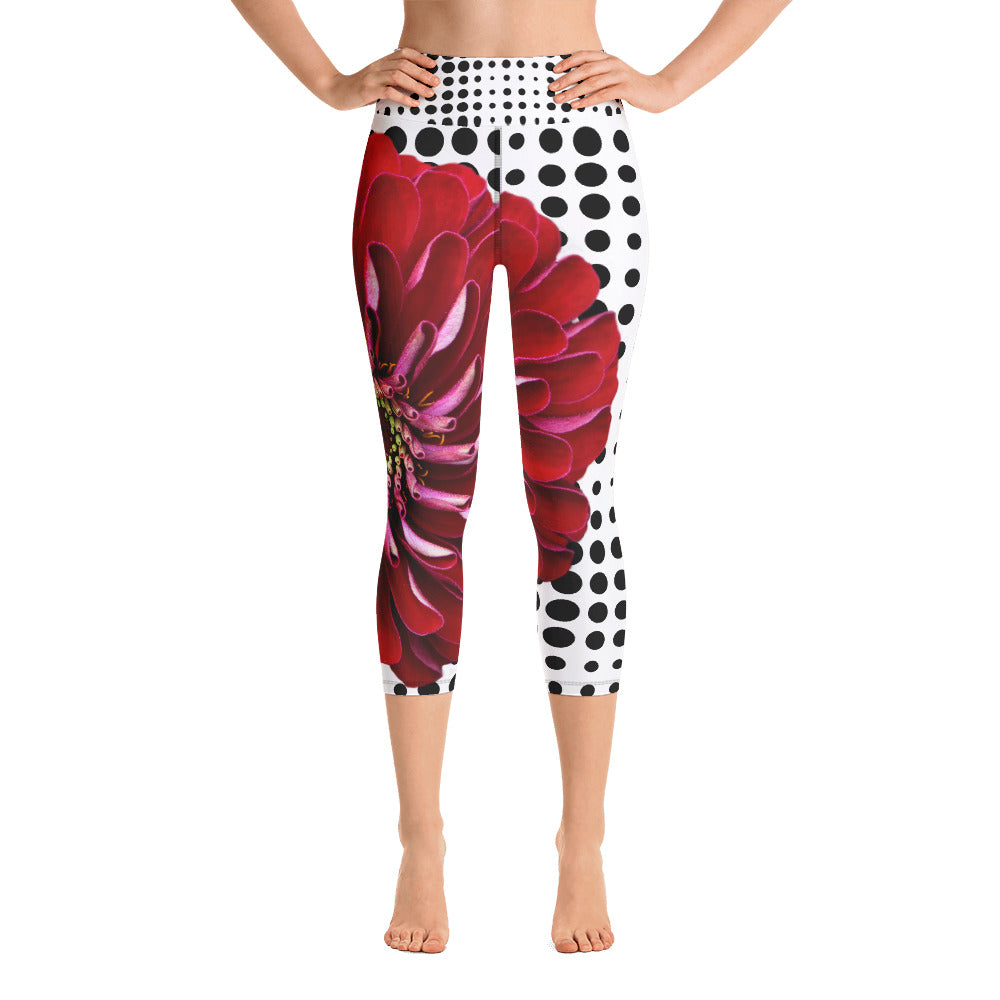 Yoga Capri Leggings - Beautiful Bold Red Flower with Black and White Polka Dots - Unique Floral Yoga Pants