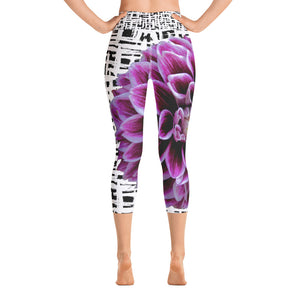 Yoga Capri Leggings - Purple Dahlia Bold Flower Print