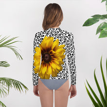 Load image into Gallery viewer, Youth Rash Guard- Sunflower with Polka Dots