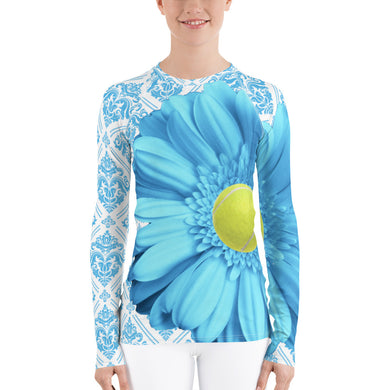 Pastel Blue Flower - Pastel Yellow and Blue - Floral Rash Guard
